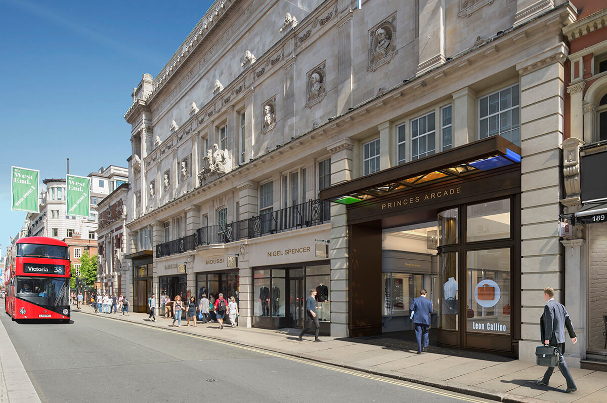 Piccadilly's Grade II listed Princes House gets a full refurbishment. architectural visualisation