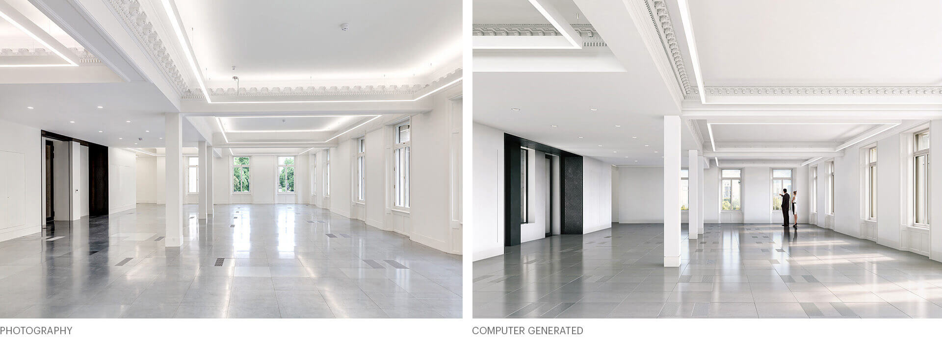 Waterloo Place, before and after architectural visualisation